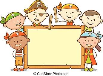 crianças, tábua, madeira, pirata
