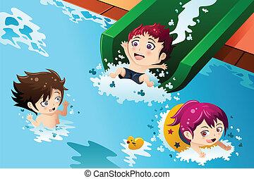 crianças, tendo divertimento, em, a, piscina
