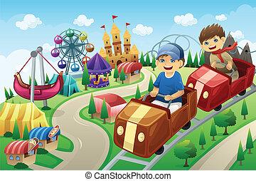 crianças, tendo divertimento, em, um, parque divertimento