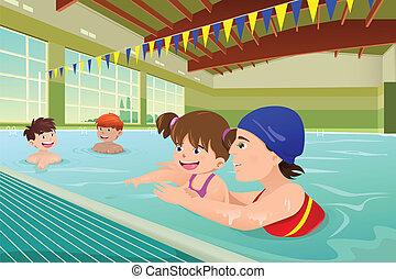 crianças, tendo, um, lição natação, em, indoor, piscina