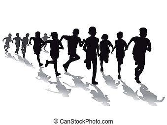 crianças, ter, um, pé raça