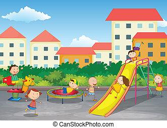 crianças, tocando, ao ar livre