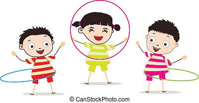 crianças, tocando, aro