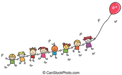 crianças, tocando, balloon