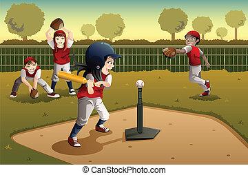 crianças, tocando, bola tee