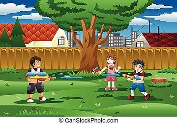 crianças, tocando, com, arma água, em, a, quintal