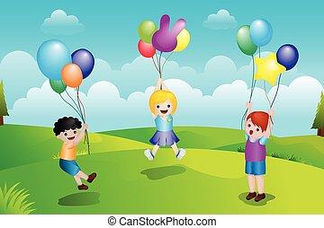 crianças, tocando, com, balões