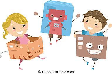 crianças, tocando, com, caixas