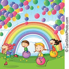 crianças, tocando, com, flutuante, balões, e, arco íris, em, a, céu