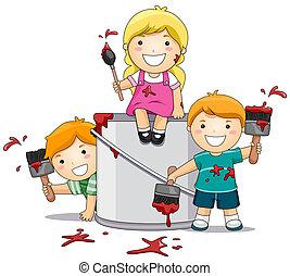 crianças, tocando, com, pintura