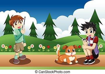 crianças, tocando, com, seu, cão
