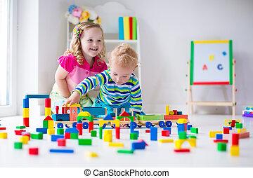 crianças, tocando, cuidado dia