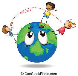 crianças, tocando, disco voador