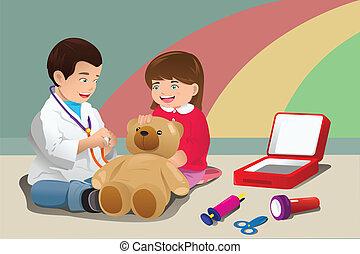 crianças, tocando, doutor