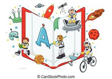 crianças, tocando, e, leitura