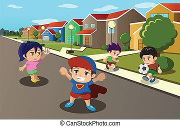 crianças, tocando, em, a, rua, de, um, suburbano, vizinhança