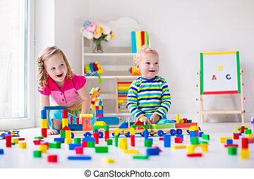crianças, tocando, em, cuidado dia