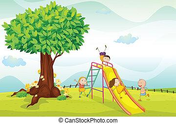 crianças, tocando, em, natureza