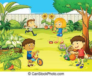 crianças, tocando, em, um, bonito, natureza