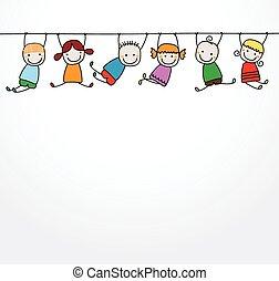crianças, tocando, feliz