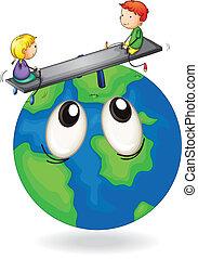 crianças, tocando, ligado, globo terra