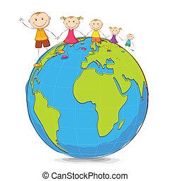crianças, tocando, ligado, globo