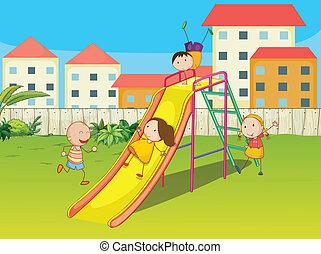crianças, tocando, ligado, um, escorregar