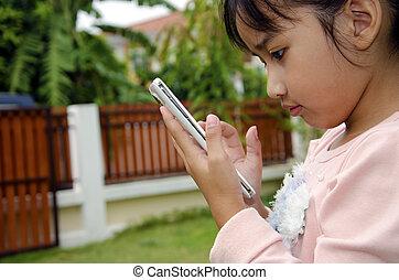 crianças, tocando, telefone