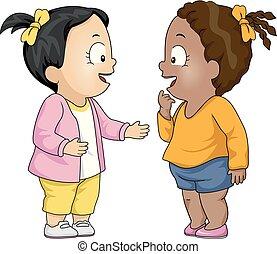 crianças, toddler, meninas, falando, ilustração