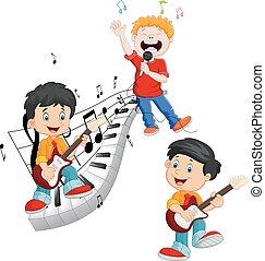 crianças, toque música, cantando, caricatura, feliz