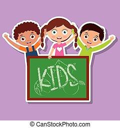 crianças, três, meninos, chalkboard, menina, feliz