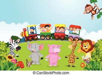 crianças, tr, caricatura, coloridos, feliz