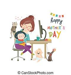 crianças, trabalhando, dois, freelancer, mãe, lar