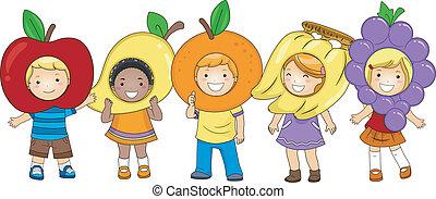 crianças, trajes, frutas