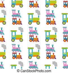 crianças, transporte, illustration., presente, padrão, viagem, seamless, jogo, vetorial, fundo, trem, brinquedo, ferrovia, locomotiva
