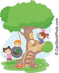crianças, treehouse