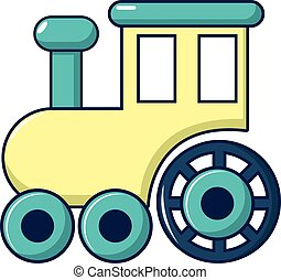 crianças, trem, para, passeios, ícone, caricatura, estilo