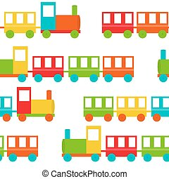 crianças, trem, seamless, padrão, vetorial, ilustração