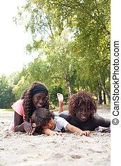 crianças, verão, étnico