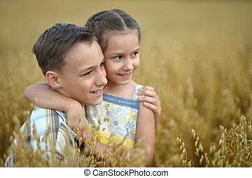 crianças verão, feliz, campo