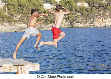 crianças verão, mar, pular, acampamento