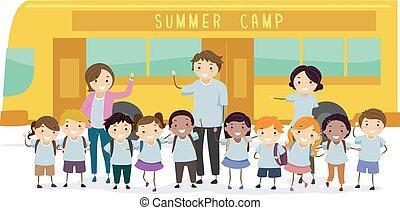 crianças verão, stickman, ilustração, acampamento
