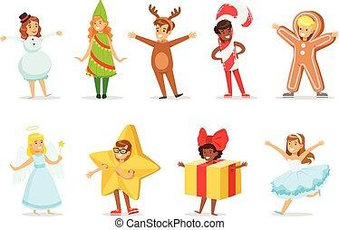 crianças, vestido, como, inverno, feriados, símbolos, para, a, traje, natal, carnaval, partido