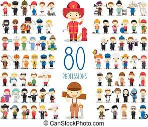 crianças, vetorial, caráteres, collection:, jogo, de, 80, diferente, profissões, em, caricatura, style.