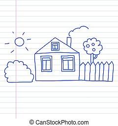 crianças, vetorial, house., style., desenho