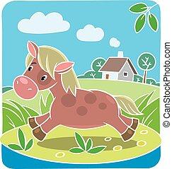 crianças, vetorial, ilustração, de, pequeno, cavalo, ou, pônei