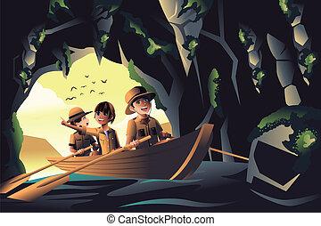 crianças, viagem, aventura