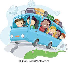 crianças, viagem, estrada