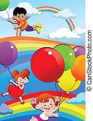 crianças, voando, ligado, balloons.
