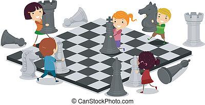crianças, xadrez jogando